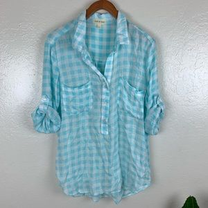 Cloth and stone rayon Plaid shirt large